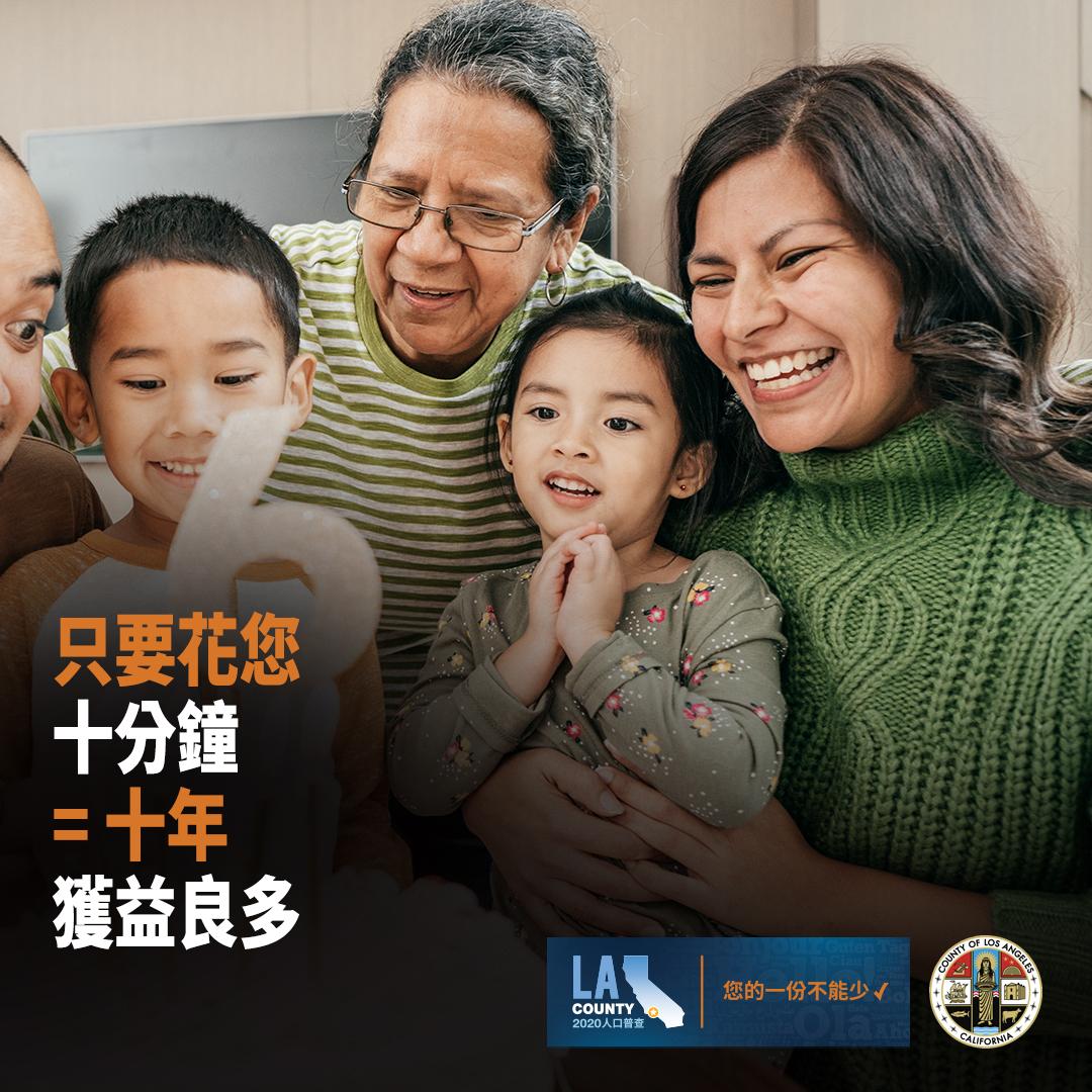洛杉磯縣政務委員讚揚恢復人口普查截止日期 敦促縣民今天就做出答覆