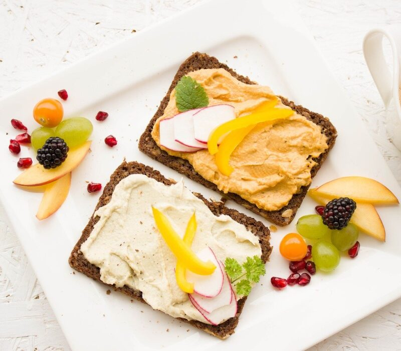 breakfast, healthy, hummus