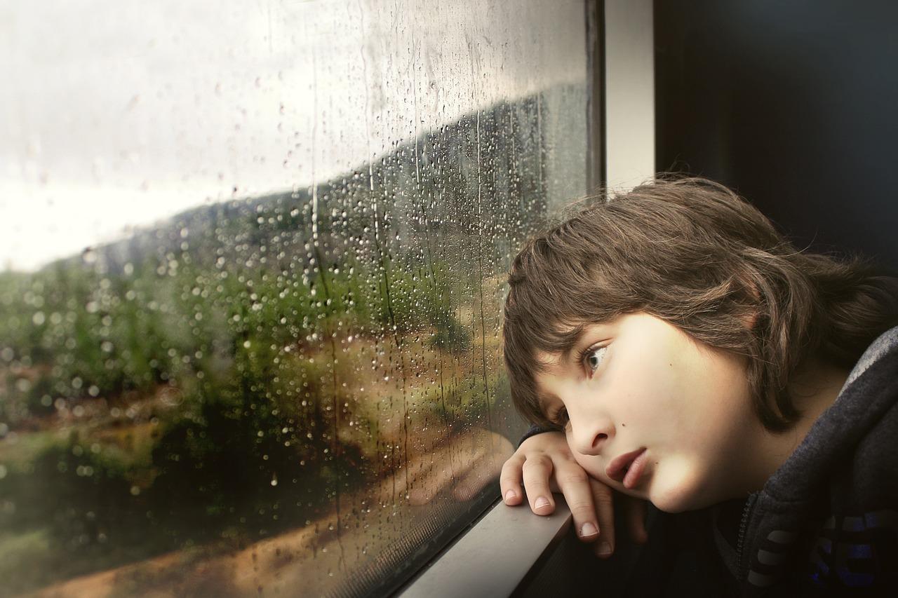 little boy, window, waiting